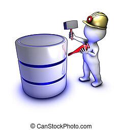 Konzept eines Charakters, der Daten aus einer Datenbank extrahiert.