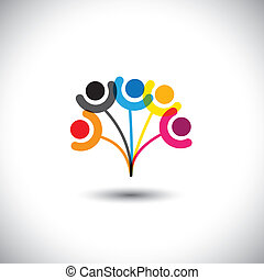 Konzept Vektor der Familie Baum zeigen Bindung & Beziehung.