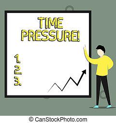 Konzeptuelle Handschrift mit Zeitdruck. Business-Fototext erledigt die Dinge in weniger Zeit als benötigt oder gewünscht.