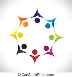 Konzipieren Sie Vektorgrafik, abstrakt, farbenfrohe, vereinte, freudige Kinder Ikons(signs). Die Illustration zeigt Konzepte wie Arbeitnehmergewerkschaften, Arbeitnehmerverschiedenheit, Gemeinschaftsfreundlichkeit & Teilung, Kinderspiel usw