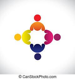Konzipieren Sie Vektorgrafik, abstrakte farbenfrohe Arbeiter, treffen Icons (signs). Die Illustration repräsentiert Begriffe wie Arbeitnehmergewerkschaften, Arbeitnehmervielfalt, Gemeinschaftsfreundlichkeit & Teilung, Kinderspiel usw
