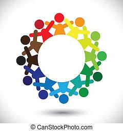 Konzipieren Sie Vektorgrafik, abstrakte farbenfrohe Kinder, die Ikonen spielen