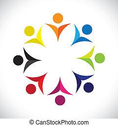 Konzipieren Sie Vektorgrafik, abstrakte, farbenfrohe Kinder-Ikons(signs). Die Illustration repräsentiert Begriffe wie Arbeitnehmergewerkschaften, Arbeitnehmervielfalt, Gemeinschaftsfreundlichkeit & Teilung, Kinderspiel usw