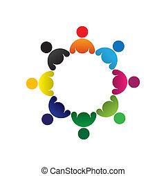 Konzipieren Sie Vektorgrafik, abstrakte farbenfrohe Kindergruppe Ikons(signs). Die Illustration repräsentiert Begriffe wie Arbeitnehmergewerkschaften, Arbeitnehmervielfalt, Gemeinschaftsfreundlichkeit & Teilung, Kinderspiel usw