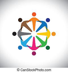 Konzipieren Sie Vektorgrafik, abstrakte farbenfrohe Menschenvielfalt ikons(signs). Die Illustration repräsentiert Begriffe wie Arbeitnehmergewerkschaften, Arbeitnehmervielfalt, Gemeinschaftsfreundlichkeit & Teilung, Kinderspiel usw