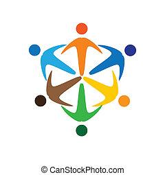Konzipieren Sie Vektorgrafik, farbenfroh, sozial verbundene Menschen ikons(signs). Die Illustration repräsentiert Begriffe wie Arbeitnehmergewerkschaften, Arbeitnehmervielfalt, Gemeinschaftsfreundlichkeit & Teilung, Kinderspiel usw