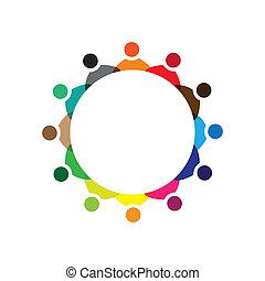 Konzipieren Sie Vektorgrafik, farbenfrohe Mitarbeiter, treffen Icons(signs). Die Illustration repräsentiert Begriffe wie Arbeitnehmergewerkschaften, Arbeitnehmervielfalt, Gemeinschaftsfreundlichkeit & Teilung, Kinderspiel usw