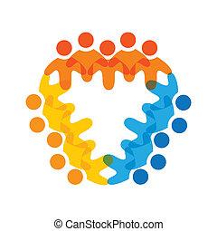 Konzipieren Sie Vektorgrafik- farbenfrohe Mitarbeiterteams icons(signs). Die Illustration repräsentiert Begriffe wie Arbeitnehmergewerkschaften, Arbeitnehmervielfalt, Gemeinschaftsfreundlichkeit & Teilung, Kinderspiel usw