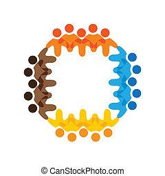 Konzipieren Sie Vektorgrafik- farbenfroher Schulkinder-Teams. Die Illustration repräsentiert Begriffe wie Arbeitnehmergewerkschaften, Arbeitnehmervielfalt, Gemeinschaftsfreundlichkeit & Teilung, Kinderspiel usw