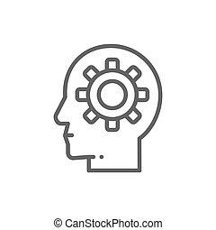 Kopf mit Gang, Gehirnprozess, Wissen, Denken, Ideen-Symbol.