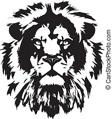 kopf, t�towierung, löwe, schwarz