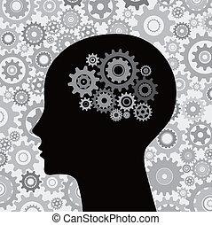 Kopf und Gehirngetriebe im Hintergrund