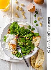 kopfsalat, gebraten, lamm, salat, ei