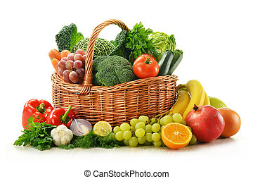 korbgeflecht, gemuese, freigestellt, früchte, korb, weißes, zusammensetzung