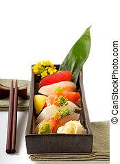 kotelett, platte, sushiplatte, stöcke, japanisches