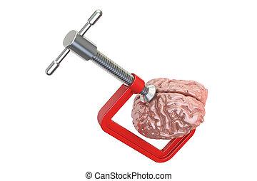 Krämpfe mit menschlichem Gehirn. Kopfschmerz und Stresskonzept, 3D Rendering