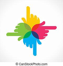Kreative farbenfrohes Hand-Ikonen-Design