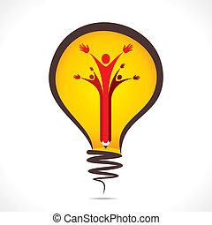 Kreative Menschen unterstützen Symbole.