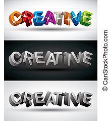 Kreatives Wort mit 3d Buchstaben, Vektorsatz.