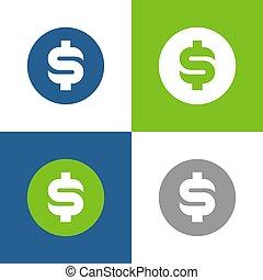 kreis, form, symbol, heiligenbilder, vektor, satz, geld