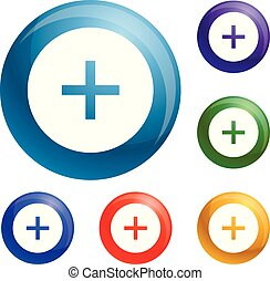 Kreis plus Symbole setzen Vektor.