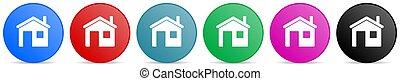 kreis, tasten, beweglich, steigung, optionen, heimhaus, vektor, webdesign, farben, satz, anwendungen, heiligenbilder, 6