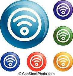 Kreis-Wifi-Icons setzen Vektor.