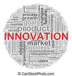 kreisförmig, innovation, etikette, design, wort
