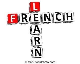 kreuzworträtsel, 3d, franzoesisch, lernen