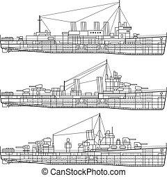 Kriegsschiff.