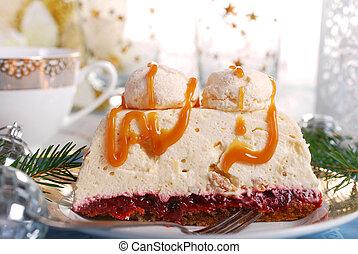 kuchen, karamell, weihnachten, meringe, creme, walnuß, soße