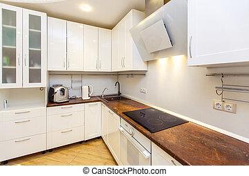 kueche , modern, countertops, beige, appliances., weißes
