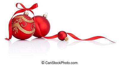 kugeln, freigestellt, schleife, dekoration, geschenkband, hintergrund, weißes weihnachten, rotes