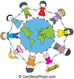 kulturen, verschieden, kinder