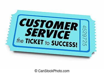 Kunden-Service Ticket zum Erfolg guten Business Support 3d Illustration.