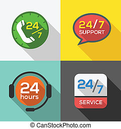 Kundenservice rund um die Uhr unterstützt flache Icon Set.