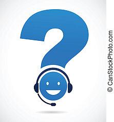 Kundenunterstützung mit Fragezeichen