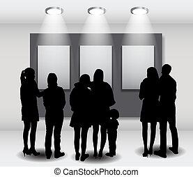 kunst, rahmen, abbildung, schauen, advertisement., silhouetten, vektor, völker, bilder, galerie, leerer
