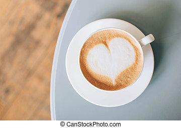 kunst, tisch, bohnenkaffee, graue , cappuccino, latte, becher, cafe.