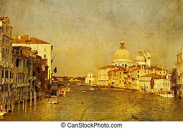 Kunstgift. Gondolas auf großem Kanal, italienischer Kanal Grande