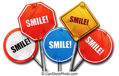 Lächeln, 3D Rendering, Straßenschilder.