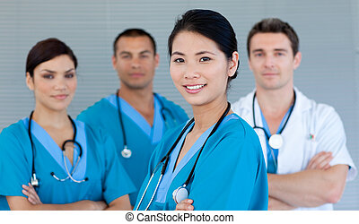 lächeln, fotoapperat, mannschaft, medizin