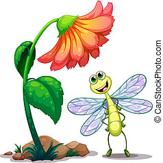 lächeln, libelle, blume, unterhalb, riesig