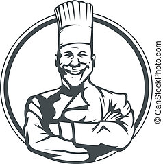 Lächelnder Koch im Ring.
