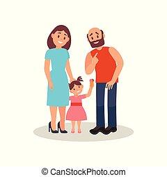 Lächelndes Familienpaar und ihre kleine Tochter, glückliches Familienkonzept Vektor Illustration auf weißem Hintergrund.