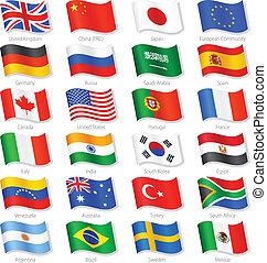 länder, oberseite, vektor, flaggen, welt, national