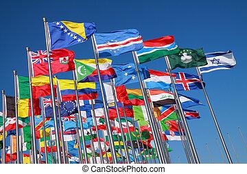 länder, welt, flaggen, ungefähr