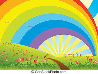 ländliche Landschaft mit Regenbogen