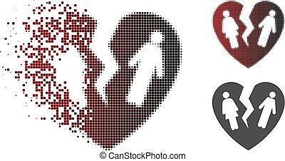Löst Pixelierte Halbton gebrochene Familienherz Ikone
