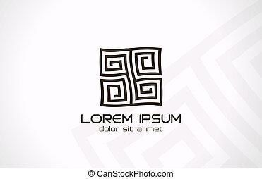 Labyrinth abstraktes Logo. Puzzle-Neufassungslogik.